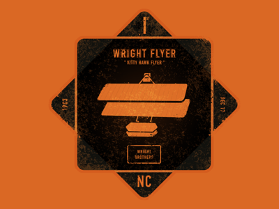 Kitty Hawk Flyer patterns texture t-shirt vintage grunge retro graphic design badge typography type