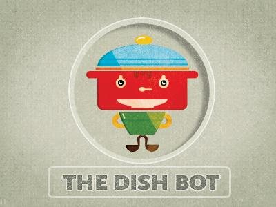 The Dish Bot robot graphic design illustration mark rockatee vintage retro bot patterns texture
