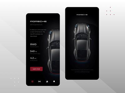 Porsche Mobile App Concept companion mobile vehicle minimal automotive ux ui car mobile app design app clean