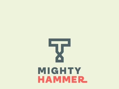 Mighty hammer monogram logo illustrator monogram letter mark vector design typography hammer monogram icon logo branding