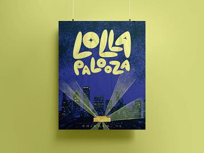 Lollapalooza Poster mockup poster summer festival design event design lollapalooza music festival typography type custom type custom lettering hand lettering lettering adobe fresco digital painting color illustration