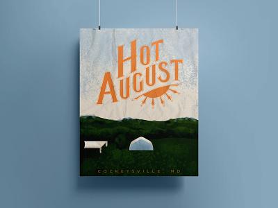 Hot August Music Fest Poster gig poster music festival poster type type design custom lettering handlettering lettering fresco adobe fresco digital painting color illustration