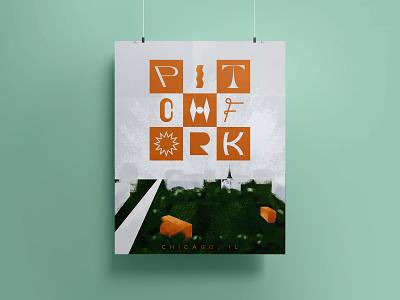 Pitchfork poster festival design music gig poster experimental type type experiment custom lettering handlettering lettering typography type adobe fresco digital painting color illustration