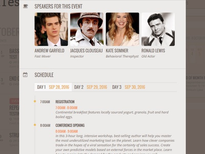 Speakers & Schedule Addon for EventON thumbnails dates tabbed speakers schedule