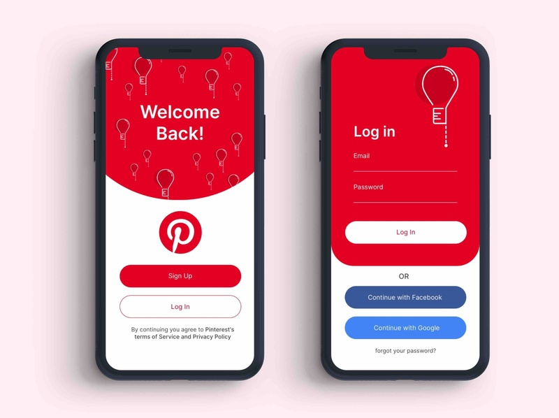 Login Pinterest dribbble app login form ui app design branding weeklywarmup illustration design