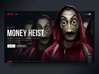 Netflix Web Design landing page design ui design moneyheist netflix website design website web page webdesign web design web ux ui design