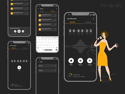 Voice Recorder Mobile App mobile app application ui application design app ui design interface interaction design ux ui
