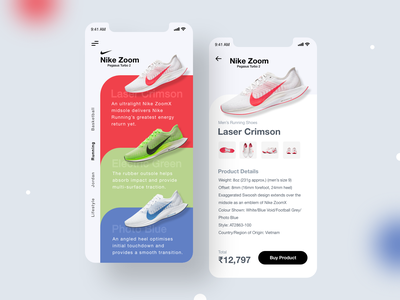 Nike Product Page Ui Exploration ui design nike ux ui mobile ui mobile design mobile app design mobile app mobile minimalist minimal ios app design dribbble best shot courses app ui application design app design 2020 trends