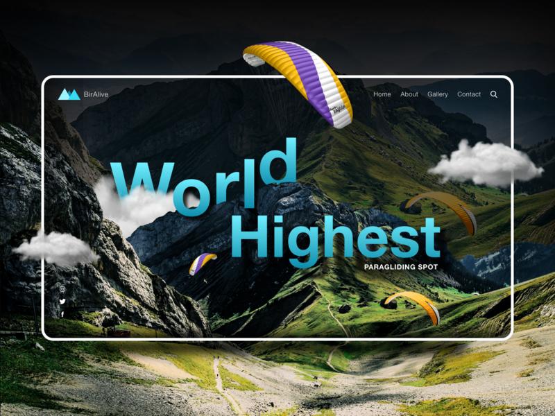 BirAlive Web Design himachal himalaya paragliding mountain interface interaction uidesign web landing page design landingpage ux typography branding logo ui design creativity