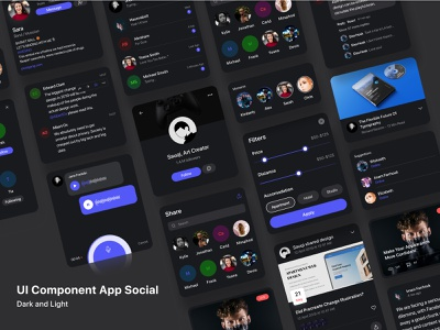 ui component social media ui kit blue social media design light dark component uiux ui figma