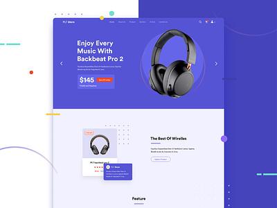Headphone Shop Web Design electronics purple blue figma backbeat plantronics ecommerce ux ui ux ui headphone homepage landing page web design