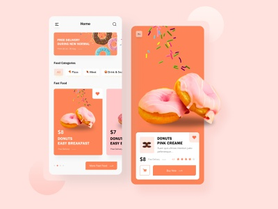 Donuts Shop junkfood orange red pink mobile app marketplace ecommerce uiux deisgn figma
