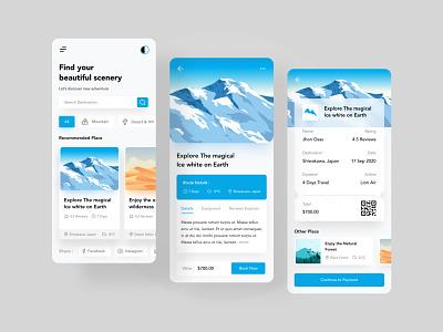 Travel App blue desert forest flat illustration montain illustration travelapp uidesign mobile application mobile app uiux figmadesign figma