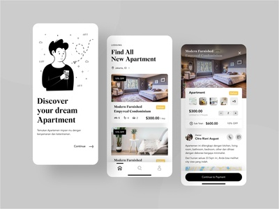 Apartment Booking App flat illustration black uxdesign uidesign livingroom bedroom apartment app realestate illustration figma