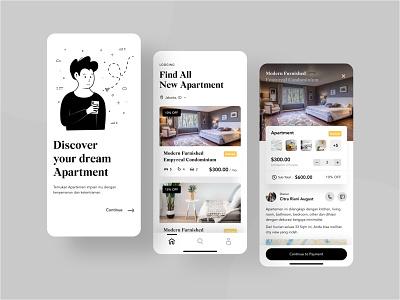Apartment Booking App flat illustration black uxdesign uidesign livingroom bedroom apartment app realestate illustration figma