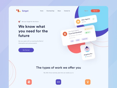 Setget Landing Page - Job Offers job purple blue typography desktop platform avatar illustration landing page agency uiux ui figma