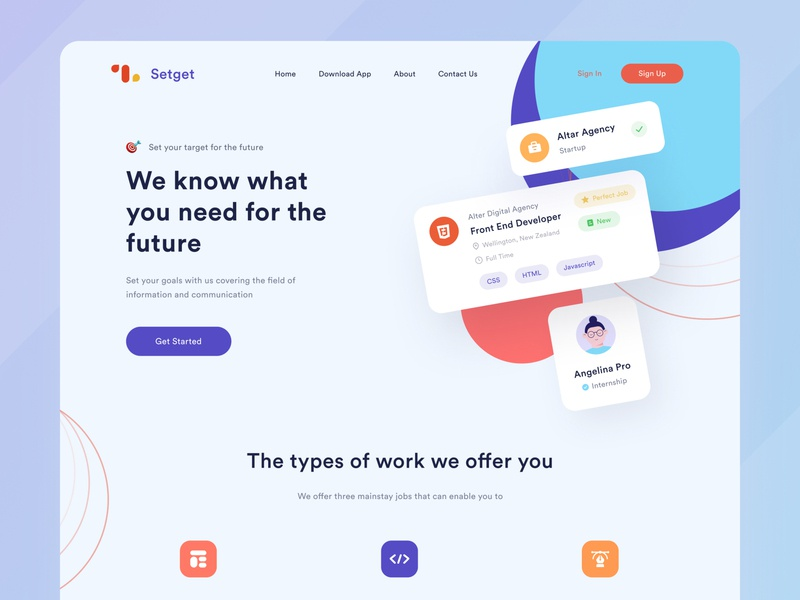 Setget Landing Page - Job Offers job purple blue typography desktop platform avatar illustration landing page agency uiux ui figma