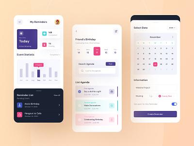 Reminders App ✨ cleandesgin figma design application reminder app reminder purple mobile app uiux blue figmadesign