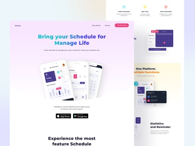 Shenta ✨ - Reminders Web Design mobileapp pink task gradient uiux schedule reminders webdesign website