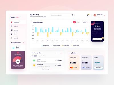 Banku Saifu 💰 - Wallet Dashboard dashboard design dashboard ui uiux chart statistics bank money wallet app pocket dashboard