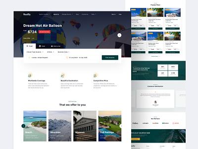 Realfly - Travel Agency Landing Page travel agency beach montain vacation travel agent landing page desktop