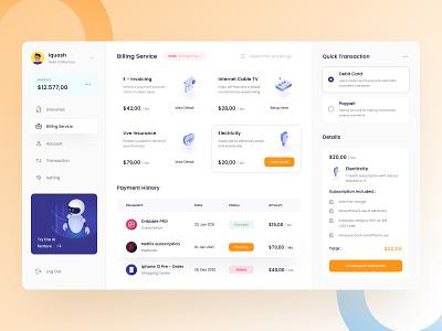 Billing Dashboard UI Kit service robot isometric illustration money payment bill ui kits