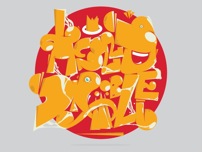 Hello Dribbbble (Final) gavinci works typography graffiti hello dribble funny typography