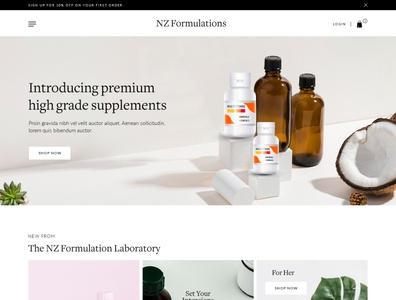 NZ Formulation business ui design suppliment ecommerce design webdesign