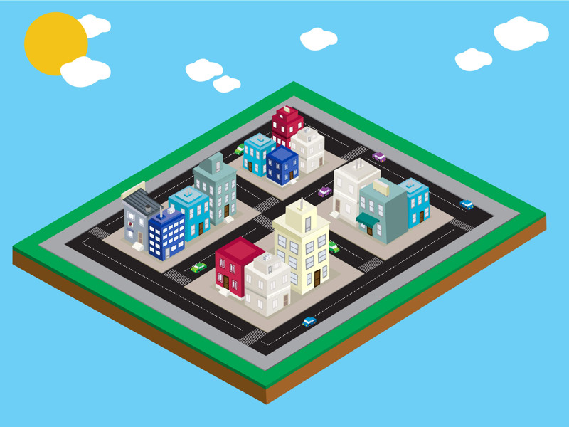 Isometric City Scene vector buildings city isometric