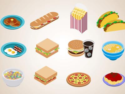 Isometric Food Icons