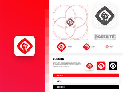 Ragebite Studio stylesheet brand guidelines fist rage studio flat gaming esports circle clean