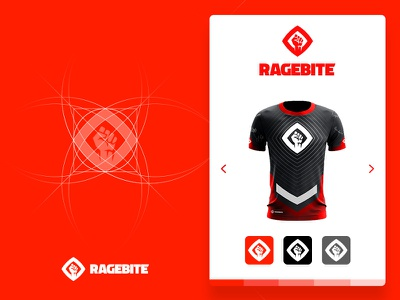 Ragebite Logo &  eSports Jersey grid ux slider game clash sport fist clean letter ui esports gaming logo