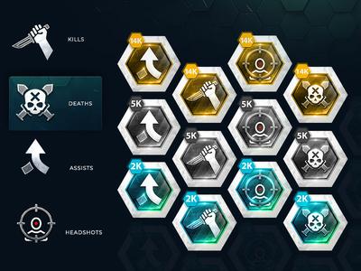 KDA Gaming Achievements logo clean game headshot head shot head assist death kill esports gaming achievements achievement