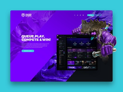 Cracken Esports - Gaming Landing Page landing landing page design ux website web app clean ui illustration dashboard esports gaming
