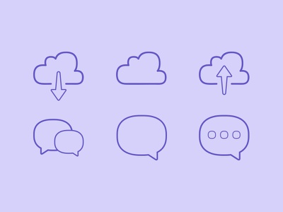 Squircle icons chat speech download upload freebie icons