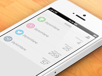 Static iphone ios social statistics static bariol flat ui