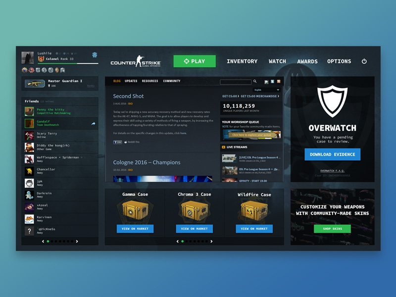 6c8f9772 CS:GO User Interface Redesign by Caleb Jessie on Dribbble