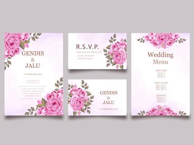 floral wedding invitation card template set