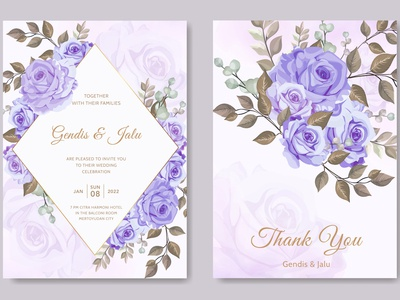 wedding invitation card template purple rose flower