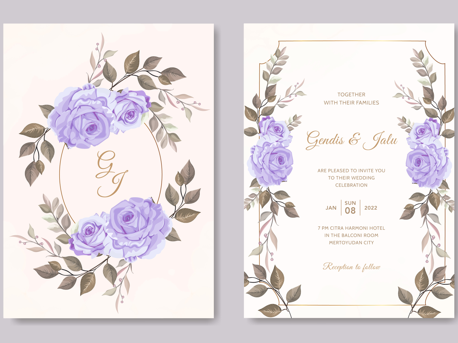 vintage wedding invitation card template purple rose flower by andrias  robin hutama on Dribbble