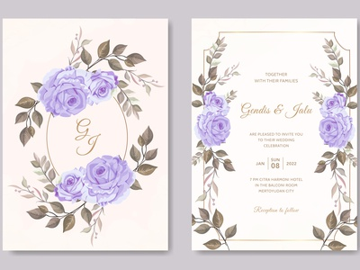 vintage wedding invitation card template purple rose flower