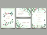 Floral wedding card invitation template set with menu