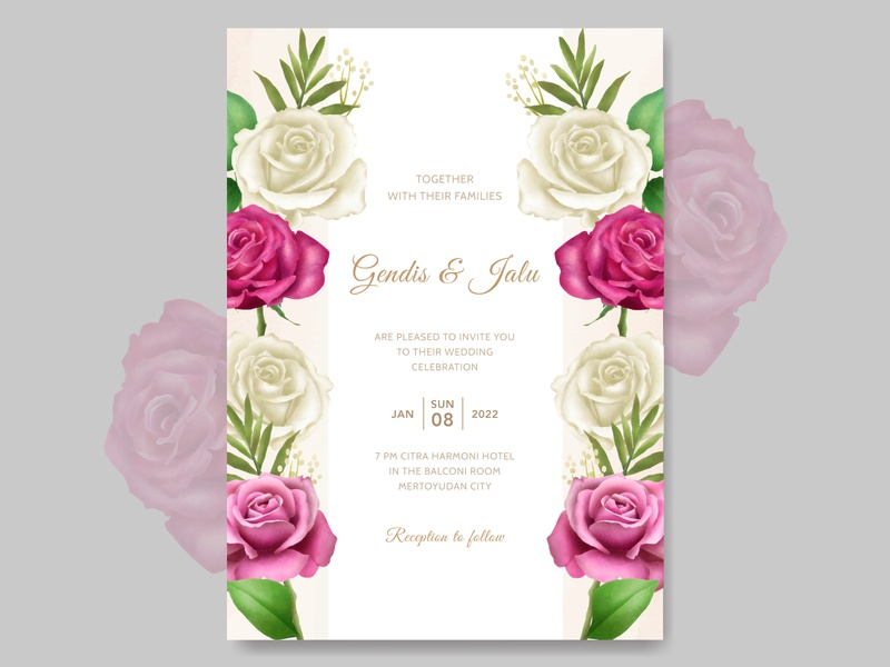 wedding invitation card template floral watercolor