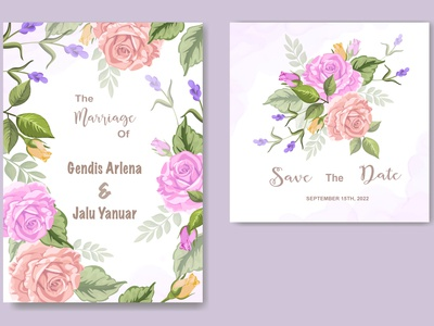 wedding invitation with floral ornament
