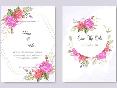 Elegant Floral Wedding Invitation