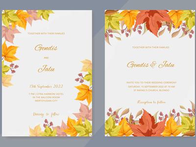 wedding invitation with beautiful autumn leaves