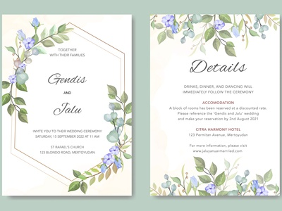 wedding invitation card with blue beautiful floral