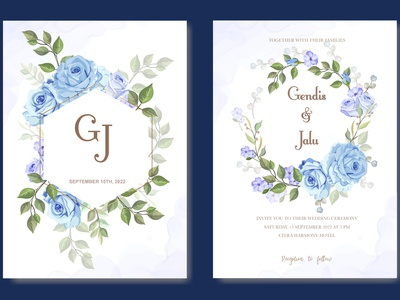 romantic blue rose wedding invitation