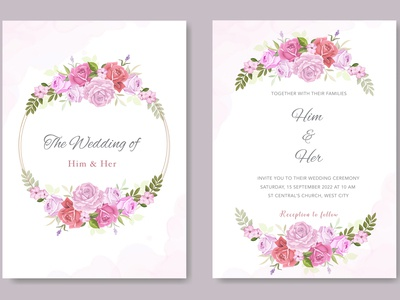 wedding card with beautiful floral and leaves template