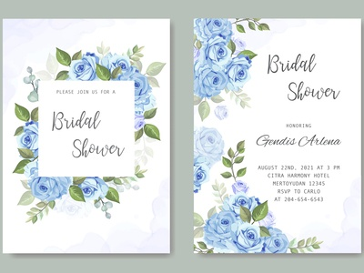 wedding card template with floral